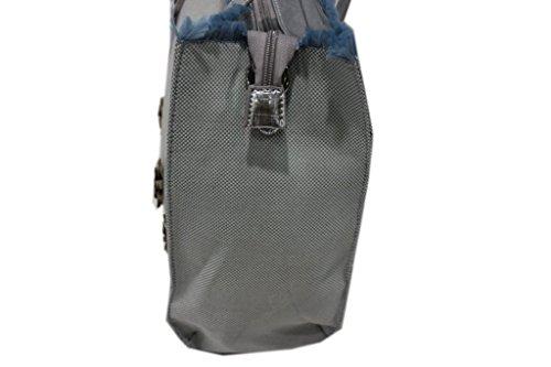 Borsa donna linea fiori modello shopping a mano lookat c1353 blu