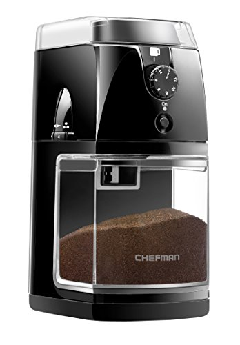 (Chefman Coffee Grinder Electric Burr Mill Freshly 8oz Beans Large Hopper & 17 Grinding Options for 2-12 Cups, Easy One Touch Operation, Cleaning Brush Included, Black,)