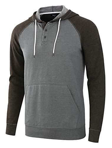 Estepoba Men's Casual Long Sleeve Henley Sweatshirt Knit Fleece Hoodie Pullover H.Army/H.Charcoal L ()
