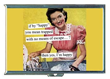 trapped housewife no escape funny retro id holder wallet or