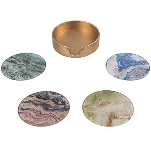 CIKER 4-Piece Coaster Set with Different and Beautiful Painted Designs- Protect - Piece Glass Coaster Four