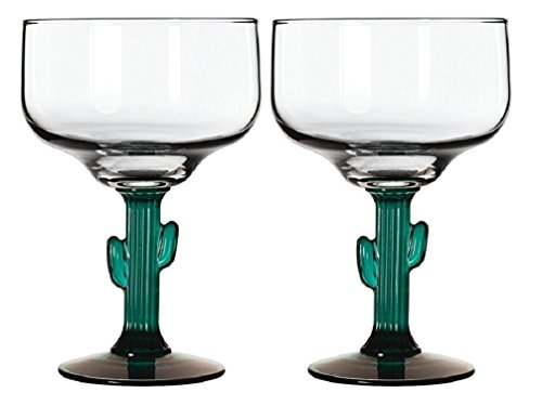 Classic Margarita Glasses - Green Cactus Stems - Cozumel Margarita 12 ounces - Blended Margaritas - On The Rocks ()