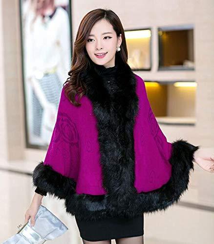 De Chal Tamaño Roja Azul Tejida One color Chal Capa Oscuro chaqueta Abrigo mantón Rosa dama Size Mantón fBndwfqS