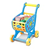 Shopping Cart Toy with Food, Toddlers Children Pretend Play Fruit Vegetable Kids Boys Girls Shopping Cart Supermarket Cart Simulation Shopping Trolley Toy (Blue)