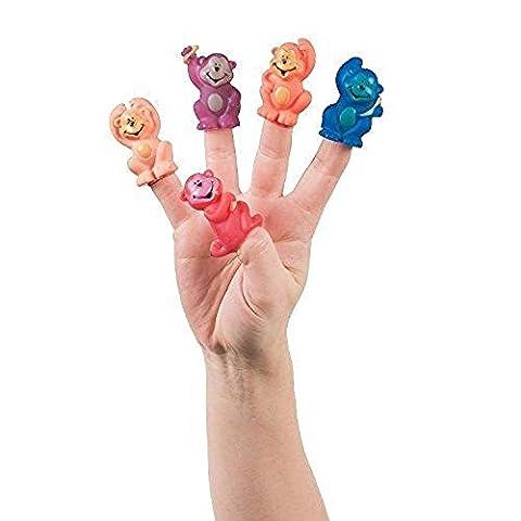 6 ~ Vinyl Neon Monkey Finger Puppets ~ New - Monkey Finger Puppet