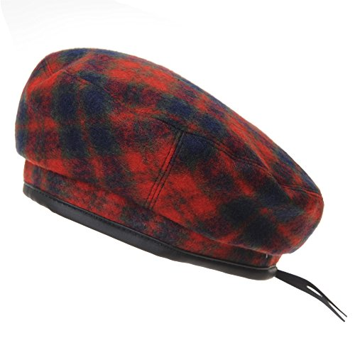 WITHMOONS Wool Beret Hat Tartan Check Leather Sweatband KR3781 (Red)