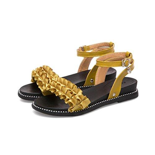 Verano para Sandalias Amarillo RETUROM Mujer Sandalias Mujer Zwqax0XWd7
