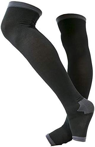 冷え性対策 男性専用脚すっきり対策オープントゥ メンズ 着圧ソックス 膝上 L-LL