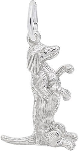 Rembrandt Sitting Dachshund Dog Charm - Metal - Sterling Silver - Dog Sitting Charm