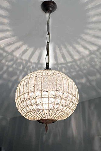 Egypt gift shops Bronze Antique Patina Basket Brass French Empire Crystal Ceiling Lamp Globe Ball Orbit Round Chandelier ()