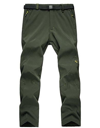 Hanxue Women's Convertible Winter Pants Waterproof Warm Pants Thick Army Green 001 S
