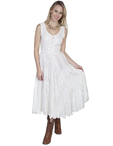 Scully Women's Lace-Up Jacquard Dress Ivory (Scully Western Wear)