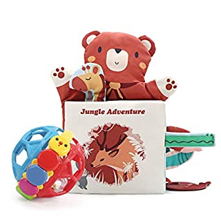 CUTE STONE Soft Baby Book & Ball Rattle Toys,Cloth Book with Crinkly Sounds,Animal Tail,Finger Puppet,Baby Rattle Set,Fun Interactive Toy,Touch and Feel Fabric Book Set for Baby Girls Boys Infant