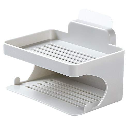 Clearance Sale!UMFun Double Deck Soap Rack Bathroom Trace Free Viscose Soap Drip Rack No Perforation Drain Frame ()