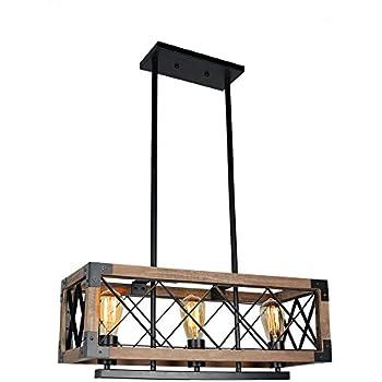 LALUZ Wood Chandeliers Rustic Pendant Lighting 6-light