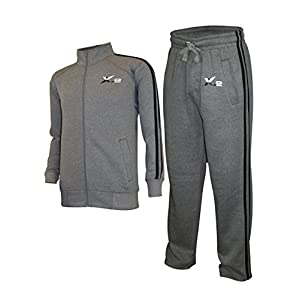 X-2 Mens Athletic Full Zip Fleece Tracksuit Jogging Sweatsuit Activewear Gray S