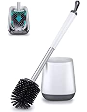 POPTEN Toilet Bowl Cleaning Brush and Holder Set for Bathroom Storage and Organization, Deep-Cleaning Toilet Bowl Cleaner Brush with Holder Anti-Rust Handle & TPR Soft Bristle,Floor Standing White