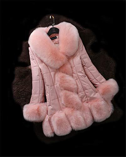Outwear Outwear Outwear Lunga Lunga Lunga Lunga Fashion Invernali Donna di Ragazza Fit Rosa Cappotto Pelliccia Calda Slim Eleganti Vita Addensare Alta Cucitura Sintetica Pelle Cappotti Inverno Pelliccia Manica Cappotti Chic Giacche vw1Eqd1