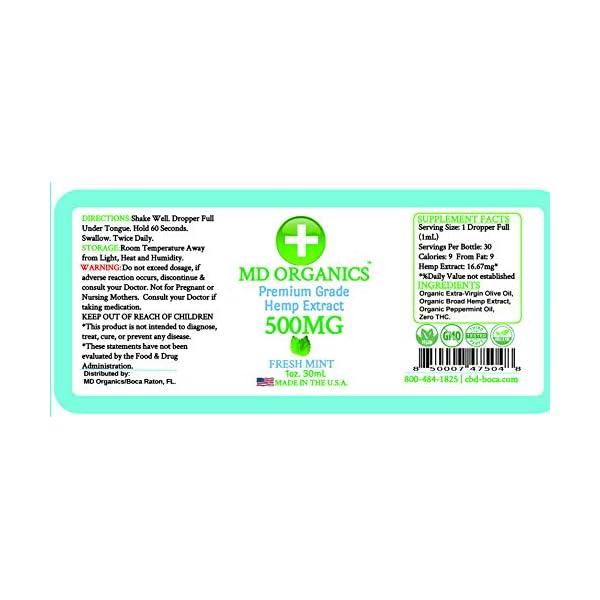 500mg 1oz Pure Organic Hemp Extract Tincture Oil Fresh Mint Pain Relief Soreness Joints Arthritis Non GMO USA Grown Omegas Amino Acids Insomnia Sleep Immune Support Back Pain Knee Pain