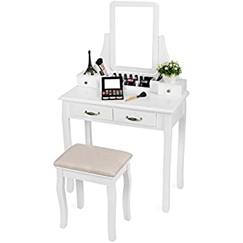 Lovely SONGMICS Vanity Table Set With Mirror 2 Large Sliding Drawers Makeup  Dressing Table With Stool 6