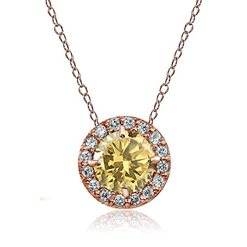- Ice Gems Rose Gold Flashed Sterling Silver Citrine and Cubic Zirconia Accents Round Halo Necklace
