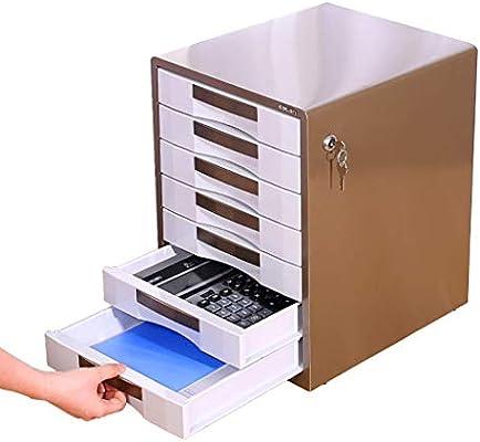 Speedmar Caja organizadora de Almacenamiento portátil archivadores, gabinete de Metal de 7 Pisos, Oficina con cajón de Bloqueo, Caja de Archivos A4, archivador de Escritorio (Color: B): Amazon.es: Hogar