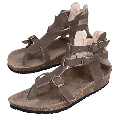 Tongs SandalescoloréNoirTaille Chaussures Plat Plage Mode Rome Boucles Strap De Cn36uk3Marron Cheville Femmes Hhgold 4q5ARLj3
