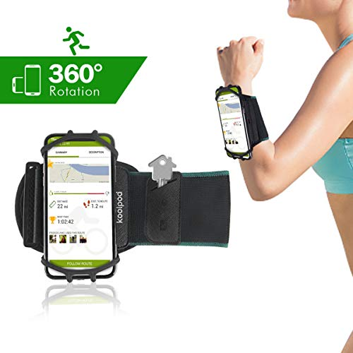 Sports Wristband Phone Holder Compatible for iPhone X 8 7 6S 6 Plus,Samsung Galaxy,Google Pixel,4.0''-6.0'' Cell Phone, 360°Rotatable Armband with Key Holder for Hiking Biking Walking Running by Koolpod