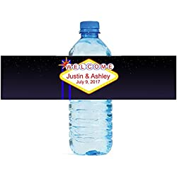 100 Vegas Sign Wedding Bachelorette Party Water Bottle labels