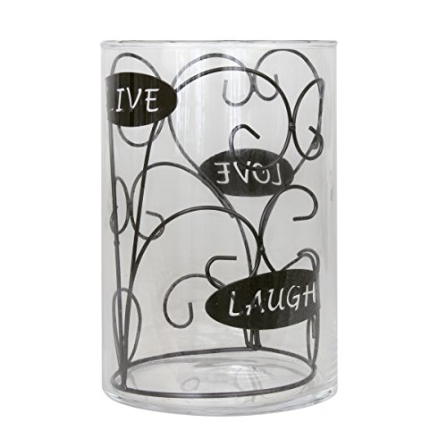 Stonebriar Live, Laugh, Love Hurricane Candle Holder, Black