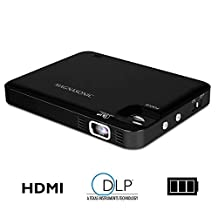 Magnasonic LED Pocket Pico Video Projector, HDMI, Rechargeable Battery, Built-in Speaker, DLP, 60 Hi-Resolution Display for Streaming Movies, Presentations, Smartphones, Tablets, Laptops (PP60)