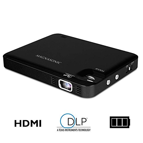 Magnasonic LED Pocket Pico Video Projector, HDMI, Rechargeable Battery, Built-in Speaker, DLP, 60 inch Hi-Resolution Display for Streaming Movies, Presentations, Smartphones, Tablets, Laptops (PP60) by Magnasonic