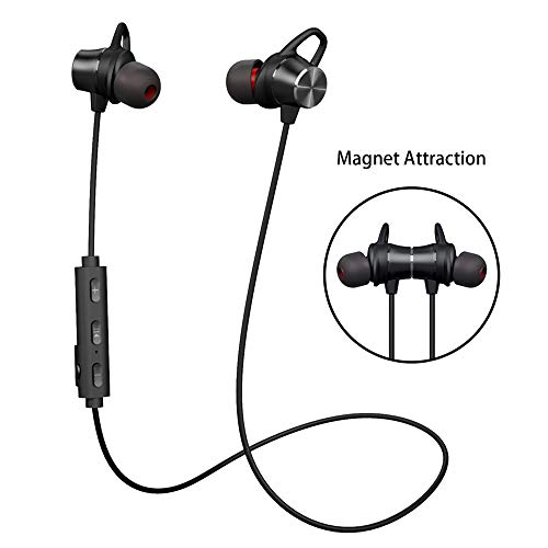 Bluetooth Headphones, GRDE V4.1 Bluetooth Headset with Magnetic Earbuds Snug Fit for Sports (Waterproof Wireless Bluetooth Headphones for 10 Hours Playtime, CVC 6.0 Noise Cancelling Microphone) by myfree