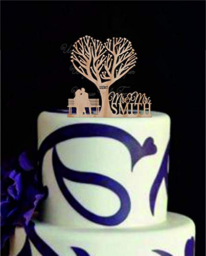 Wedding CakeTopper With A Two People Sitting On A Bench Under The Tree - Wooden Cake Topper