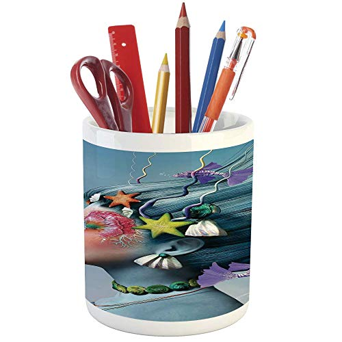 Pencil Pen Holder,Mermaid,Printed Ceramic Pencil Pen Holder for Desk Office Accessory,Woman with Underwater Themed Make Up Hairstyle Starfishes Seashells Fishes Bubbles