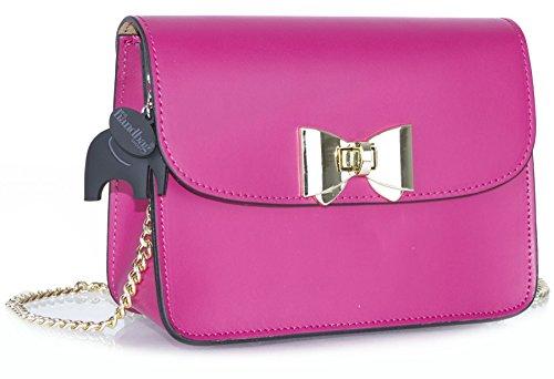 Bag Shop Party Big Clutch Handbag Deep Italian Pink Small Leather Shoulder Genuine Structured pxnq1Cw5qv