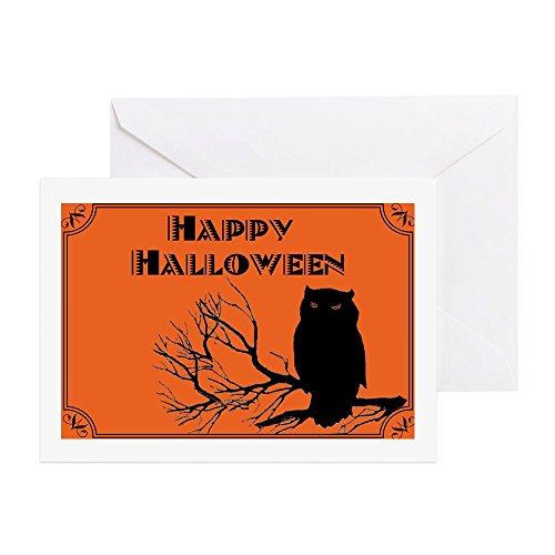 CafePress - VINTAGE HALLOWEEN OWL - Greeting Card, Note Card, Birthday Card, Blank Inside Glossy