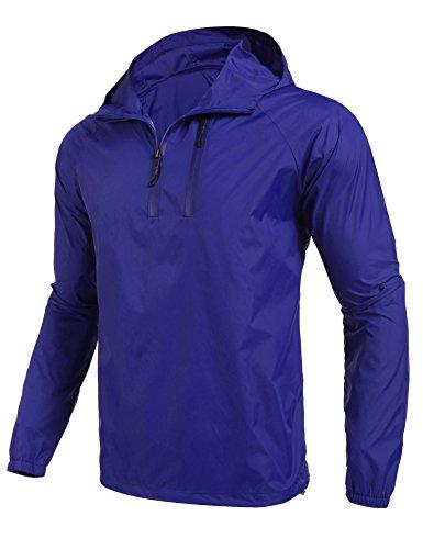 Coofandy Chaqueta Impermeable Hombre Outdoor Montañismo con Capucha de Viento Azul