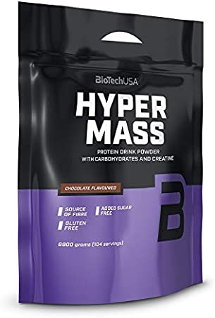 BioTechUSA Hyper Mass Bebida en polvo con carbohidratos, proteína y creatina, alto contenido de fibra dietética, sin azúcar añadido, 6.8 kg, Chocolate