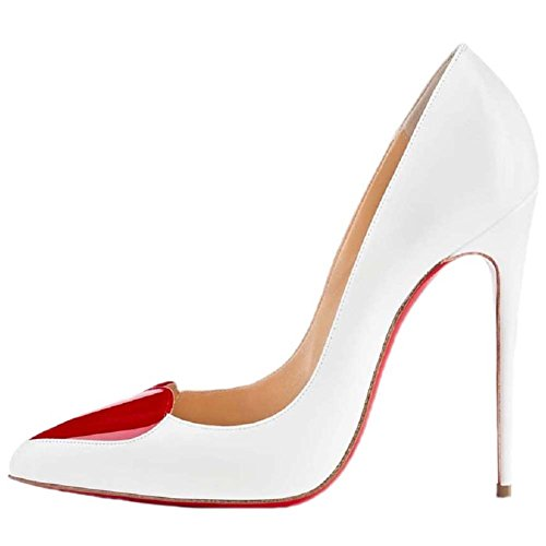 HooH Women's Pointed Toe Peach Hearts High Heel Wedding Pumps Red Sole-White-39