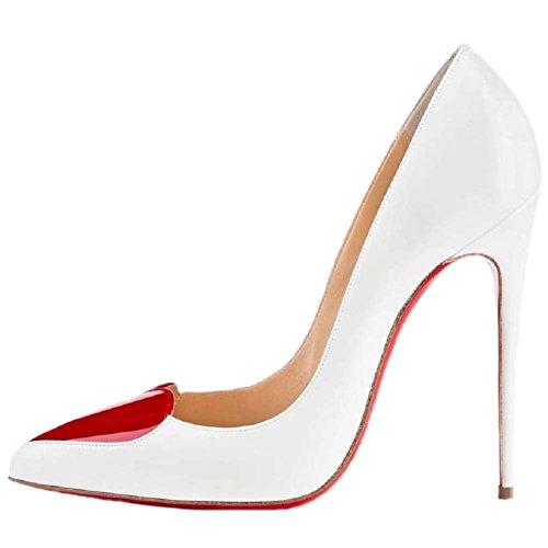 Pfirsich HooH Rote Frauen 42 Heel High Spitzen Sohle Herzen Weiß Pumps frREqrw0x