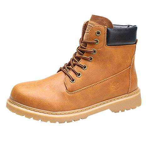 (〓COOlCCI〓Ankle Boots for Women Low Heel Work Combat Boots Lace up Round Toe Snow Boots Military Combat Mid Calf Boots)