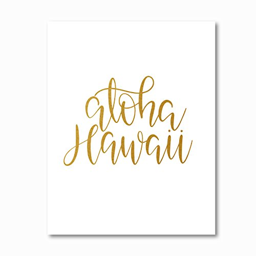 Gold Foil Art Print on aloha Hawaii Honeymoon Gift Wedding Gift | Birthday Gift | Real Foil |