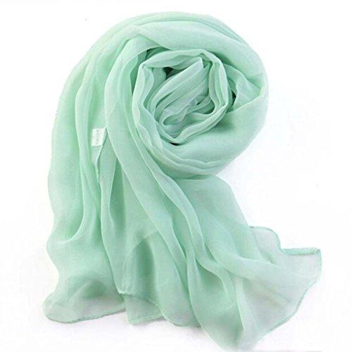 moda Sciarpa donne scialle Adeshop verde menta lunga di Pure sciarpe ragazze di di chiffon Color sottile in sciarpa avvolgere Elegante Beach di Chic Xt50rtxwgq
