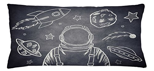 Modern Throw Pillow Cushion Cover by Lunarable, Space Backdrop with Planets and Sketchy Astronaut Figure Asteroid Galaxy Image, Decorative Square Accent Pillow Case, 36 X 16 Inches, Cadet Blue White (White Cadet Cadet Drop)