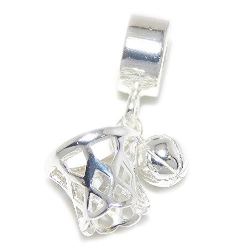 (925 Solid Sterling Silver Dangling Basketball and Net Charm Bead)