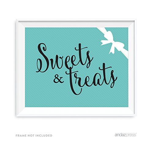 Andaz Press Bride & Co. Collection, Sweets and Treats Candy Dessert Buffet Party Sign, 8.5x11-inch, 1-pack, For Bridal Shower, Engagement, Wedding Event Decorations