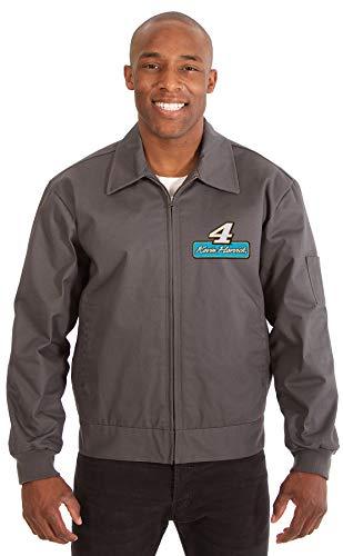 JH DESIGN GROUP Mens Nascar Kevin Harvick Mechanics Work Jacket with Front Chest Emblem (Large, Charcoal Gray)