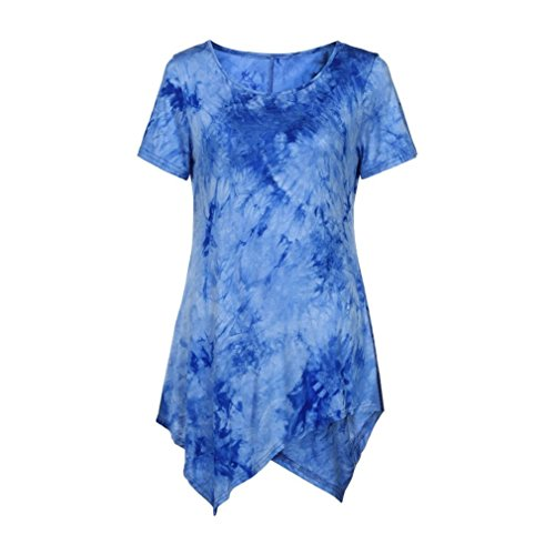 Women Plus Size Summer Tops Todaies❤ Women Casual T-Shirt O-Neck Blouse Ptinted Short Sleeve Irregular Tops (L, Blue)