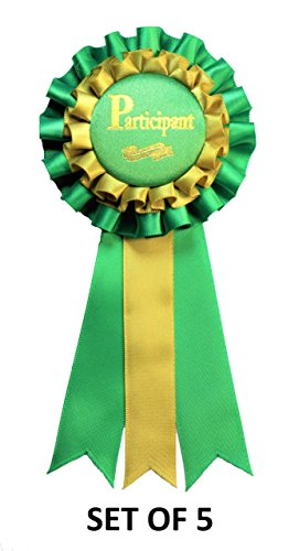 Participant Premium Green Award Ribbons - Set of 5 -